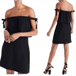 Madewell Silk Off the Shoulder Black Dress